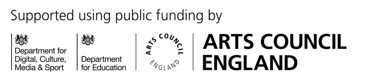 Arts Council logo showing funding from the Department for Education and Department for Digital, Culture, Media and Sportnd