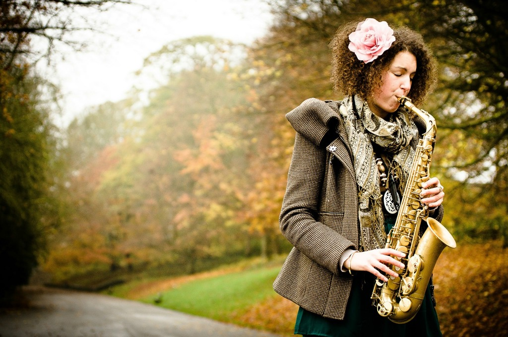 Katie Hawcutt playing the saxophone