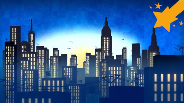 City night scape illustration